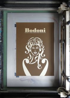 Clever silkscreen poster by Andreas Xenoulis, illustrated using characters from the Bodoni typeface.