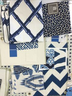 Blue and white fabrics color crush Blue And White Fabric, White Fabrics, Blue Fabric, Navy And White, Colour Schemes, Color Patterns, Textiles, Chinoiserie Chic, Love Blue
