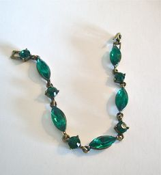 Avon Vintage Green Glass Bracelet by CrimsonVintique on Etsy, $22.00