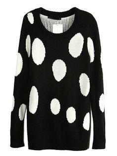 Black Knit Sweater With White Dot Pattern #blacksweater #sweater #knit #blackandwhite