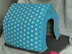 Blue Spotty House Style Pet Bed    www.calvinknine.com