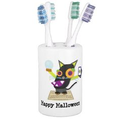 Black Cat Halloween Cartoon Spirit Board Soap Dispenser And Toothbrush Holder - cat cats kitten kitty pet love pussy