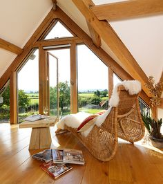 Light and airy top floor office space - 2009 The Woodhouse, Oak Framed Buildings, Step Inside, Hanging Chair, House Design, Flooring, Architecture, Bedroom, House Styles