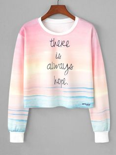 Buy Watercolor Slogan Print Crop Sweatshirt in the online store BigShopStyle - Sweat Shirt - Ideas of Sweat Shirt - Cute Girl Outfits, Teenage Outfits, Cute Casual Outfits, Outfits For Teens, Work Outfits, Summer Outfits, Chic Outfits, Winter Outfits, Girls Fashion Clothes
