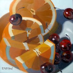 Orange Slices and Cherries by Leigh-Anne Eagerton, painting, via Flickr