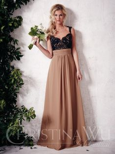 116355a44af Christina Wu Occasions Style 22649 Full-length A-line chiffon skirt with  gathered waistband. Lace bodice with sweetheart neckline and open back.
