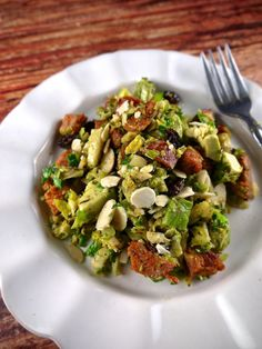 Paleo Brussels Sprouts Slaw with Avocado & Andouille - the preppy paleo