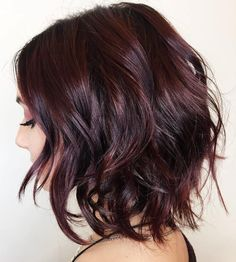 Wine Tinted Black Messy Bob