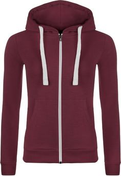 ecd22eb2a6 WearAll Women s Zip Up Long Sleeve Plain Hoodie Top - Wine - US 10 (UK