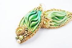 Embroidery earrings, Shibori earrings, beaded earrings, green earrings, embroidery earrings, beaded earrings, beadwork shibori earrings by ByMimmiShop on Etsy