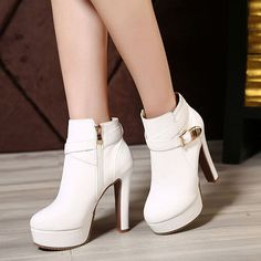 High Heel Zippered Boots