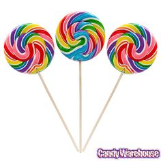 Rainbow Swirl 6-Ounce Round Lollipops