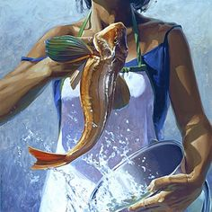 """""""Fishy Tail"""" - Barry Ross Smith, oil on linen, 2007 {female torso with color fish splashing from bucket painting}"""