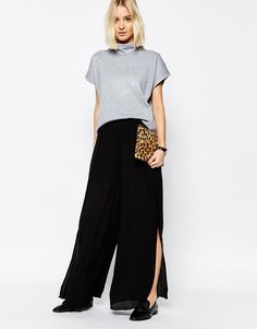 Paisie+Layered+Wide+Leg+Floaty+Trouser