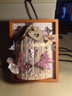 Homemade Folded book Art .Bird Cage With Butterflies And Birds