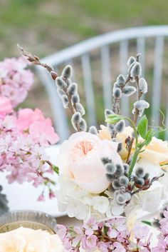 Spring Home Decor With A Spring Centerpiece Of Willow A spring centerpiece of willow, pink and white blooms looks bright, cheerful and fun. Spring Bouquet, Spring Flowers, Vases, Spring Home Decor, Floral Arrangements, Beautiful Flowers, Wedding Flowers, Wedding Bouquet, Wedding Inspiration