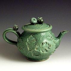 Hand Thrown Stoneware Green Slip-Trailed Teapot by baumanstoneware