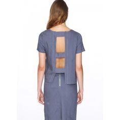 Top Alicia Azul - Pepaloves - Blusa de manga corta y cuello redondo. Apertura en toda la espalda unida por tres cintas. Color azul