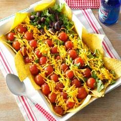 Patriotic Taco Salad Recipe from Taste of Home -- shared by Glenda Jarboe of Oroville, California