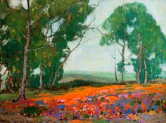 """Paul Lauritz (1889 - 1975), known for his lovely landscapes, was once President of the California Art Club. Shown here is """"Wildflowers"""", 16 x 20 inches."""