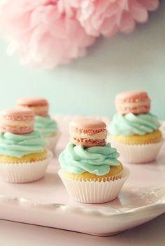 Mini cupcakes w/ mini French Macarons! Super cute!