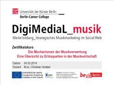 Vor ein paar Tagen informierte CHRISTIAN GOEBEL, Labelmanager bei Motor Entertainment GmbH, die Zertifikatskursteilnehmer über die Mechanismen der Musikverwertung.  www.digimedial.de/zertifikatskurs