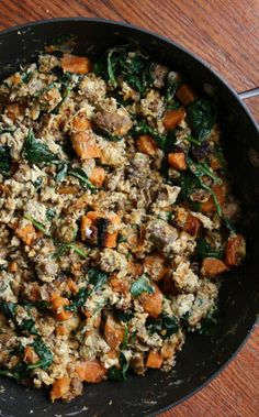Start your day off right with a serving of warm sweet potato and sausage egg scramble from this simply delicious paleo breakfast freezer meal recipe.