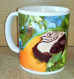 Blue-and-gold Macaw Parrot Coffee Mug Parrot, Coffee Mugs, Tableware, Gold, Gifts, Blue, Parrot Bird, Dinnerware, Presents