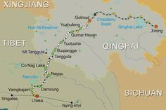Map of Xining to Lhasa Train Route