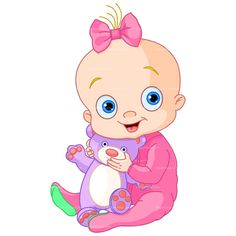 CLIPART BABY GIRL WITH TEDDY | Royalty free vector design