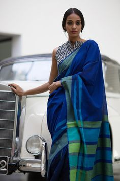 Beautiful blue cotton saree