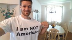 """My fiance and I are going to Europe this week. She told me a hundred times that we have to """"blend in"""" and not look American. I completely agree... so I had this shirt made - more at http://www.thelolempire.com"""