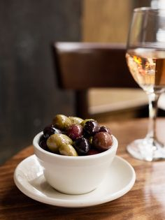 good wine & olives.  Add some smelly cheese and you've won my heart.