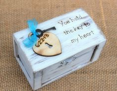 Ring Bearer Box Shabby Chic Wedding Personalized Wood Heart and Key (Your Color Choice) on Etsy, $30.95