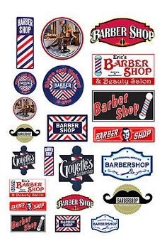 These are suitable for use with any or scale model or diorama. These signs are printed on photo paper using photo dyes for durability. This sheet includes 22 signs. These signs must be cut out and glued on. Vintage Labels, Vintage Ads, Barber Logo, Barber Shop Decor, Barbershop Design, Model Train Layouts, Paper Models, Classic Toys, Shop Signs