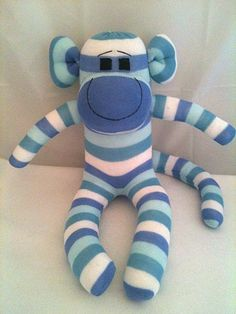 Blue Striped Boy Sock Monkey, Sock Animal, Sock Sculpture