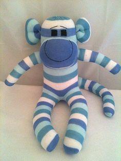 Blue Striped Boy Sock Monkey, Sock Animal, Sock Sculpture