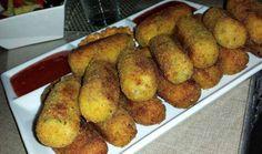 Aardappelkroketten met gehakt en rijst