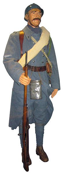 "French WWI Uniform - the ""horizon-blue"" color was adapted after the former uniforms consisted of navy jackets and red pants, which were easy to spot, thus there were very heavy losses of French soldiers at the start. However, the French were the first to introduce the steel helmets in order to protect soldiers from shrapnel."