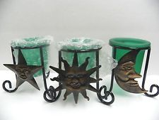 GREEN GLASS Star Sun Moon Set of 3 Candle Holders Great Gift Idea Brand New