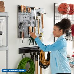 Whether it's tools, sports equipment, or gardening supplies, we can make space for it all! Shop our Garage Storage & Organization collection here. Garage Storage Systems, Garage Organization, Container Store, Gardening Supplies, Sports Equipment, Organize, Tools, Space, Shop