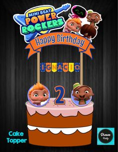 MiniBeat Power Rocker Cake Topper,MiniBeat Power Rocker Birthday,MiniBeat Power Rocker Party,MiniBeat Power Rocker Printable Rocket Cake, 2nd Birthday, Happy Birthday, Rocket Power, Baby Rocker, Dream Party, Ideas Para Fiestas, Baby Shark, Cake Toppers
