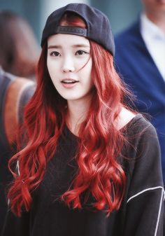 IU Lee Jieun Cute Hat Red Hair
