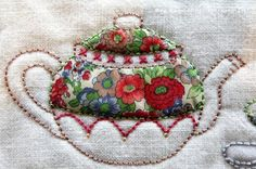 Love the mix of fabric, beads, stitches and trim.  Reminds me of my Mom and her pretty tea cups. Loads of inspiring variations.