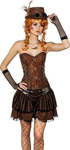 *werbung | Damen Kostüm Steampunk Rock und Corsage. Das Steampunk Zubehör ist nicht enthalten. Cooles Outfit für Mottoparty, Cosplay Event oder Karneval.