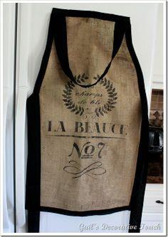 burlap baker's apron... ohhhh I LOVE this! via Gail's Decorative Touch