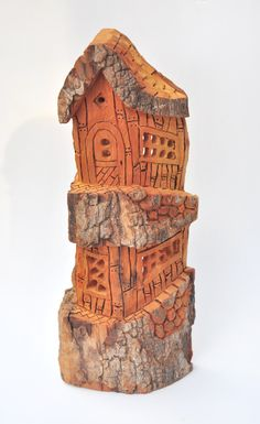 Carvings Summer Decor Wood Art Cabin Decor Cottonwood Bark Wife Gifts Wood Sculptures Grandma Gifts Mothers Day Table or Wall Decor Bark Carving Whimsical Houses Gift Table, A Table, Wood Sculpture, Sculptures, Wood Bark, Tree Carving, Gnome House, Into The Woods, Fantasy House