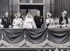 Queen Elizabeth II and Prince Philip -After the ceremony, the newlyweds made an appearance on the balcony of Buckingham Palace to greet well wishers. They were joined by – from left – Elizabeth's father King George VI and her younger sister Princess Margaret, as well as – from right – her grandmother Queen Mary, and her mother, the Queen consort