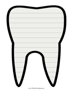 Great for dentist waiting rooms, this printable writing template is laid over a picture of a tooth.