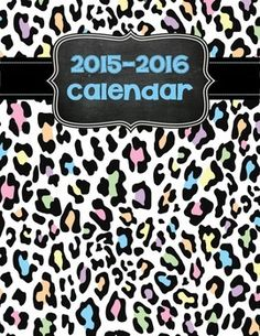 Printable 2015-16 Calendar-Wild Animal Theme, $5.  Editable version included!